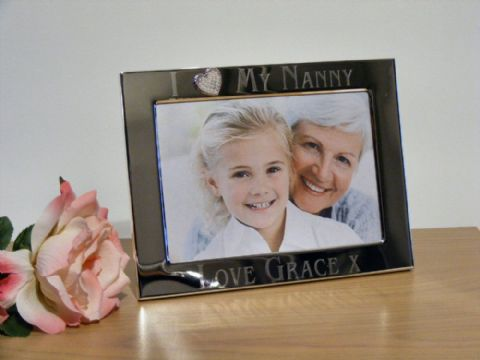 Personalised Silver Heart Photo Frame I Love My Nanny Grandma Gift